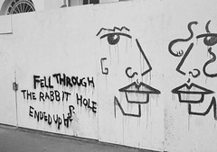 Rabbit Hole (bigalid) Tags: film 35mm olympus pen ee2 bw c41 fujifilm neopan 400cn halfframe london february graffiti