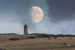 Moonrise behind St Catherine's Oratory (Ainsleyiow1) Tags: 700mm moon isleofwight nikon200500 nikond810 nikon stcatherinesoratory moonrise