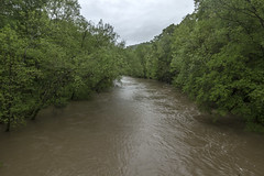 Caney Fork River at Dodson Bridge, White County, Tennessee (Chuck Sutherland) Tags: dodson frazer bridge bigbottom bigbottomroad whitescaveroad whitescaverd caneyforkriver caneyfork flood water river creek stream turbid whitecounty tennessee tn