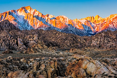 Morning Sun on the Sierra (jthight) Tags: nikond810 afzoom2470mmf28g lonepinepeak sunrise march sierra sierranevada alabamahills clouds sky morning california mountwhitney lightroom rocks lonepine unitedstates us