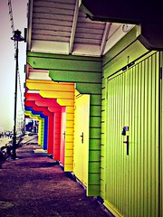 Multi Coloured Beach Huts (AMIAFAD) Tags: uk blue red orange green beach yellow yorkshire sunday north may huts scarborough coloured multi 19th 2013 flickrandroidapp:filter=none