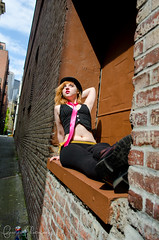 006 (Fearless Zombie) Tags: seattle fashion washington spring punk boots tie bowlerhat april wa vest pioneersquare leggings pinktie combatboots flashmafia clockworkorangefashion