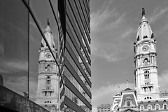 TriplePlay (damonabnormal) Tags: street city blackandwhite bw reflection philadelphia glass architecture mirror nikon cityhall may streetphotography pa philly phl urbanite 2013 d7000