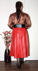 vintage red leather flared governess skirt for sale (sheerglamour) Tags: leather fetish skirt satin governess