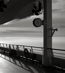 Muster Station 7, Inside Passage, Alaska (austin granger) Tags: clock film alaska square ship time geometry rail deck lifeboat mind impermanence reality change insidepassage buoy lifepreserver lifering transience musterstation gf670 austingranger