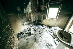 Burned out (deathtiny42) Tags: urban house abandoned bathroom fire down burn burnt luxembourg exploration maison lorraine feu incendie moselle urbex urbaine abandonn brule salledebains bruler