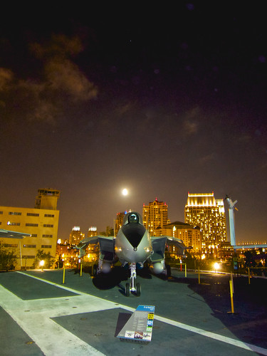 F-14 on the Midway at night