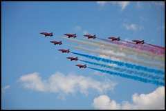 Red Arrows (4oClock) Tags: blue red summer sky white festival plane airplane amazing nikon britain hawk nine flight jet fast 9 aeroplane lincolnshire arrows british nikkor raf cleethorpes humber aerobatic d90 2013 festivalofflight 18105mm