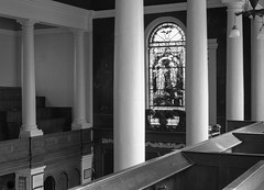 18th century church (ammgramm) Tags: uk england bw white black church 35mm blackwhite gallery cheshire interior naturallight stainedglass pillars neoclassical congleton stpeterschurch eastwindow xpro1 tuscancolumns squarepiers georgianboxpews fujifilmxpro1 fujinon35mmf14r