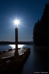 Shoot for the Moon (Bear not the lens in vain...) Tags: moon lake water night canon dock ryan cummings t3i