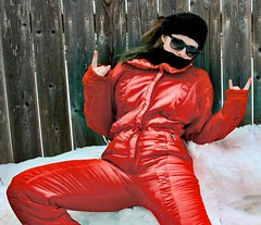 red_cangiante (onesieworld) Tags: red snow ski sexy girl one shiny retro suit 80s piece nylon 90s catsuit