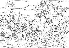 Coloring - Sowing (T-KONI) Tags: cloud house mountain cute art home church field fairytale rural forest fun design countryside image farmers cartoon picture illustrations fairy fantasy coloring farmer lovely outline contour linedrawing peasant coloringbook digitalimage cartooncharacter sowing digitalillustration coloringpages 2dcg comicillustration linedrawingforcoloring