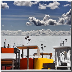 Reason and sense (Nespyxel) Tags: sky colors clouds square cielo tables colori eolie halfandhalf tavoli panarea nespyxel stefanoscarselli reasonandsense tufototureto