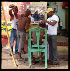 In A Barber's Chair (designldg) Tags: life portrait people india selfportrait man colour reflection men heritage composition square photography mirror colours skin humanity expression culture atmosphere streetlife attitude human ba