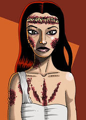 Zombie Virginia (Tom Bagley) Tags: canada calgary monster illustration weird vampire zombie cartoon eerie creepy spooky fantasy alberta gore horror macabre sharpie scars bandages ooky magicmarkers tombagley tombsoftheblinddead sexyzombie amandodeossorio lanochedelterrorciego maraelenaarpn