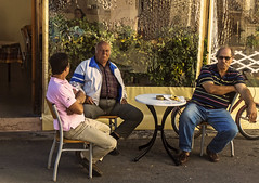 Local Men - Rhodes Town (Fuji XM1 & 16-50mm Zoom) (markdbaynham) Tags: people island greek fuji zoom candid hellas x greece grecia local trans rhodes fujinon csc dodecanese hellenic xm1 1650mm