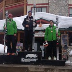 Steven Fry 1st; Cameron Alexander 2nd; Jack Crawford 3rd - Kimberley Keurig Cup downhill overall podium PHOTO CREDIT: JP Daigneault