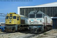 Locomotoras 319 en el Taller de Valencia-Fuente San Luis (C.Olmos) Tags: valencia san gm general fuente continental rail motors taller luis renfe 319 locomotoras macosa retales integria