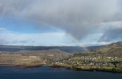 Rainbow over Lyle (bulldog008) Tags: mountains nature sunshine rain weather clouds river outdoors town washington rainbow spectrum columbia gorge lyle klickatat