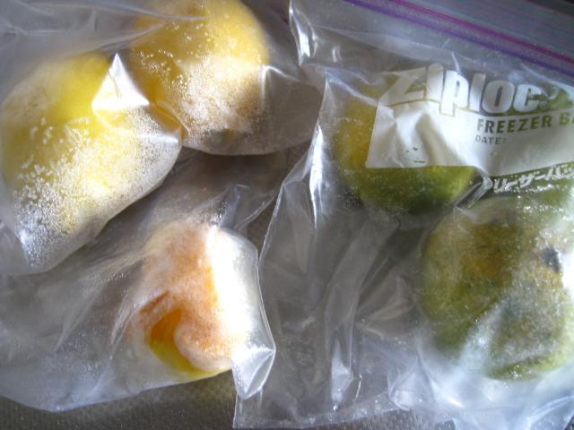 柚子、レモン、すだちなどは冷凍保存