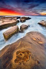 La Jolla Ledges (David Shield Photography) Tags: lajolla sandiego california landscape seascape rocks ledges ocean water longexposure sky clouds sunset sunrise light color nikon coast