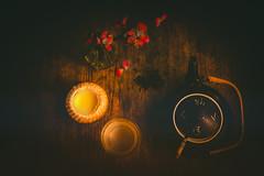 12/52 Still Lifes – Round (gian_tg) Tags: round 1152stilllifes–round stilllife greentea teapot afternoontea japanesequince chaenomelesjaponica light warmth custard