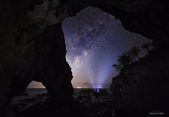 View from the cave (Ancon0031) Tags: milkyway galacticcentre moon cave stars lightbeam sunshinecoast