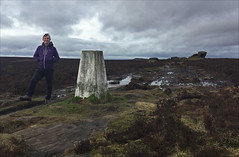 8 of 52 trig points (Ron Layters) Tags: 2017 ronlayters selfportrait 52trigpoints oxstones trigpoint tors gritstone weathering mud moor heather water windy moorland burbagemoor gritstonetor badweather desolate pillar tp5267 fbs2159 landscape peakdistrict peakdistrictnationalpark dore sheffield southyorkshire england unitedkingdom 52weeks 52 phonecamera iphone apple appleiphone6 selftimer tripod 10secondtimer weekeight week8 8