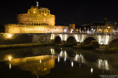 Castel Sant'Angelo (Aggelos Kastoris) Tags: castle castel sant angelo rome italy bridge reflection lights colors night photography photoshoot outdoor river building roma riverside water architecture