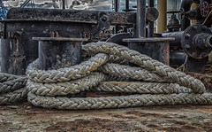 Rope & Rust. (Ian Emerson) Tags: ship deck rope rust harbour poole dorset tied machinery photography canon