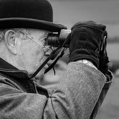 Watching (tom ballard2009) Tags: dorset milbornestandrew southdorsethunt pointing racing sport horse people mono blackwhite bowler hat gloves binoculars