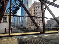 River Crossing (Robert Borden) Tags: bridge river backofacab taxi grid iron oldchicago architecture texture patterns chicago illinois canonelf canon canonphotos nonstopfoto usa northamerica midwest travel bluesky