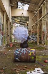 Best seat in the House.. (Harleynik Rides Again.) Tags: abandoned graffiti backshot facelessportrait parasol urbex urban woman harleynikridesagain