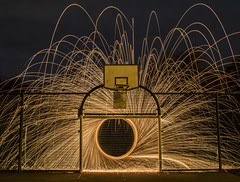 Shooting goals hoops and sparks (jnrbrad) Tags: lighttrails canon night photography longexposure wirewool fire sparks cool interesting sport basketball football