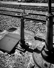 """There is always someone who does a job and no one we thinks..."" (giannipaoloziliani) Tags: iphone7 iphonephoto flickr thoughts manholes screws bulloni viti bolts rotaie binari binary particolari dettagli details railway ferrovia pietre stones italy iron ferro rail monochrome monocromatico blackandwhite biancoenero"