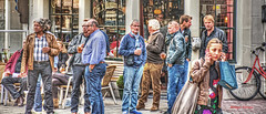 bicycle picture (albyn.davis) Tags: amsterdam people panorama beer drinking bicycle blue colors street netherlands europe gathering party