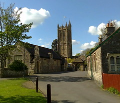 St. Mary's Church and surrounding buildings (southglosguytwo) Tags: 2017 april buildings cameraphonephoto clouds hometown road stmaryschurch sky southgloucestershire spring trees yate