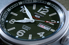 Seiko Watch With 4R36 Movement. (DigitalCanvas72) Tags: seiko watch usa japan mechanical automatic kinetic nikond7000 nikkor85mm35gedvrdx military look green od