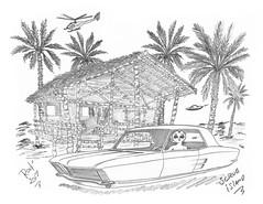 Scrub Island (rod1691) Tags: bw scifi alien brey concept cutom car retro space hotrod drawing pencil original story fantasy funny automotive art illistration greyscale moonpie aquilla bahamas