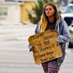 Cheese Burger (Austin Hudson) Tags: homeless cheeseburger woman