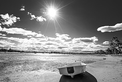 DSC01516 (Damir Govorcin Photography) Tags: sun burst sand boat sky clouds landscape trees wide angle sydney canada bay water sony a7ii zeiss 1635mm perspective creative composition monochrome blackwhite natural light