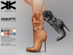 Charlotte :: Ankle Boots :: 10 Colors ({kokoia}) Tags: kokoia boots boot cowboy cowgirl west heel maitreya slink tmp belleza eve high shoes ankle charlotte