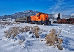 Winter railroading (rolfstumpf) Tags: usa nevada ely alco nevadanorthern steam locomotive winter snow ice railway railroad museum rs3