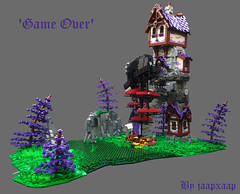 TT17 R6: 'Game Over' (jaapxaap) Tags: lego jaapxaap contest tourney purple house moving ship battle fantasy castle