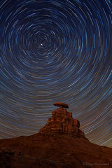 "Star Trails over Mexican Hat Rock, Utah (IronRodArt - Royce Bair (""Star Shooter"")) Tags: polaris northstar startrails stars starrynight starrynightsky mexicanhat mexicanhatrock butte geology rock natural formation nightphotography nightsky nightscape utah astronomy longexposure"