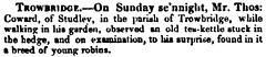 Kettle of Robins, Studley, Trowbridge 1837 (Trowbridge Postcards & Ephemera) Tags: trowbridge wiltshire studley newspaper