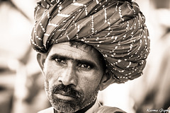 Man with the turban (karmajigme) Tags: portrait man human rajasthan india blackandwhite monochrome noiretblanc travel nikon