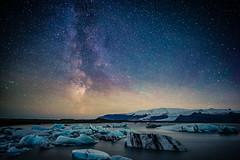 Milky way over Jökulsárlón (modesrodriguez) Tags: 2016 iceland islandia landscape paisaje travel viaje milkyway sky stars universe longexposure ice glacier lagoon iceberg