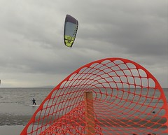 Stormy weather... (Beeke...) Tags: wind surfing constraction contrasts abstract beach seashore fence red colours
