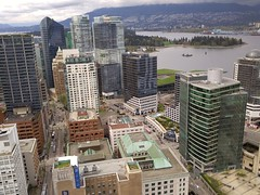 Vancouver Lookout: Downtown Burrard 20170425_142030 (CanadaGood) Tags: canada britishcolumbia bc vancouver downtown cameraphone building coalharbour mountain stanleypark 2017 thisdecade canadagood colour color red green
